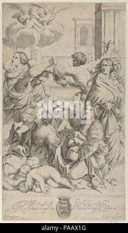 Massacre of the Innocents; group of women and children being attacked, two angels at upper left, after Reni. Artist: After Guido Reni (Italian, Bologna 1575-1642 Bologna); Engraved by Gian Battista Bolognini (Italian, Bologna 1611-1688 Bologna). Dimensions: Sheet (Trimmed): 18 3/16 × 10 3/8 in. (46.2 × 26.3 cm). Date: ca. 1640-70.  After a painting by Reni which at the time was in the church of San Domenico in Bologna.  Verso is not visible as print is laid to another sheet of paper. Museum: Metropolitan Museum of Art, New York, USA. - Stock Photo