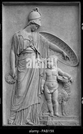 Minerva Protecting the Young King of Rome. Artist: Joseph-Antoine Romagnési (French, Paris ca. 1782-1852 Paris). Culture: French. Dimensions: 45 1/2 × 29 in. (115.6 × 73.7 cm). Date: 1811.  This is the original plaster for a relief intended to celebrate the birth of Napoleon I's son, Napoleon II, or François-Charles-Joseph, in 1811, who was endowed by his father with the title King of Rome in symbolic confirmation of the imperial dynasty. The work was exhibited at the Salon of 1812. Its formal aspects were possibly inspired by Roman reliefs in the Palazzo Spada, Rome. A smaller plaster relief  - Stock Photo