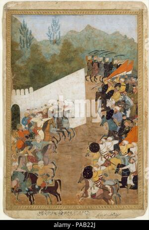 'The Battle of Shahbarghan', Folio from a Padshahnama (Chronicle of the Emperor). Dimensions: 13.62 in. high 9.12 in. wide (34.6 cm high 23.2 cm wide). Date: 17th century.  An illustration to a history of Shah Jahan's reign, this painting shows the emperor's army during a successful punitive expedition into Transoxiana. The Astrakhanid ruler Nasr Muhammad had escaped the Mughal army, carrying with him most of his treasure. The Mughal commanders Asalat Khan and Rustam Khan intercepted him at Shahbarghan and defeated him in July 1646. Shah Jahan ordered eight days of festivities to celebrate the - Stock Photo