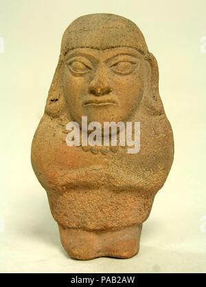 Standing Ceramic Figure. Culture: Moche. Dimensions: H x W: 5 1/4 x 3in. (13.3 x 7.6cm). Date: 3rd-5th century. Museum: Metropolitan Museum of Art, New York, USA. - Stock Photo