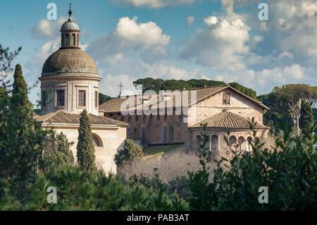 The Basilica dei Santi Giovanni e Paolo, Basilica of Saints John and Paul on the Caelian Hill, in Rome - Stock Photo