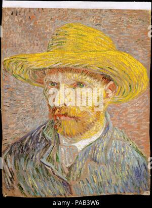 Self-Portrait with a Straw Hat (obverse: The Potato Peeler). Artist: Vincent van Gogh (Dutch, Zundert 1853-1890 Auvers-sur-Oise). Dimensions: 16 x 12 1/2 in. (40.6 x 31.8 cm). Date: 1887.  Van Gogh produced more than twenty self-portraits during his Parisian sojourn (1886-88). Short of funds but determined nevertheless to hone his skills as a figure painter, he became his own best sitter: 'I purposely bought a good enough mirror to work from myself, for want of a model.' This picture, which shows the artist's awareness of Neo-Impressionist technique and color theory, is one of several that are - Stock Photo