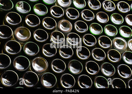 Wall made of  wine  bottles background - Stock Photo