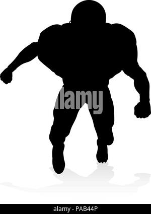 American Football Player Silhouette - Stock Photo
