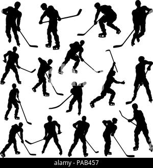 Hockey Player Silhouettes - Stock Photo