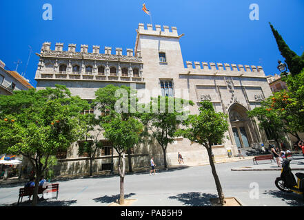 Llotja de la Seda or Silk Exchange, an emblematic late Valencian Gothic-style civil building in the center of Valencia, Spain - Stock Photo