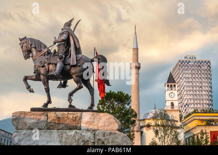 Four of Tirana's landmarks -  The Statue of Skanderbeg, The Et'hem Bey Mosque, the clock tower and the Plaza Hotel seen from  Skanderbeg Square Tirana - Stock Photo