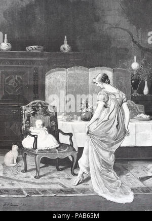 Amusing his lordship, mother dancing infront of her baby in the living room, digital improved reproduction of an original woodcut print from the year 1881 - Stock Photo