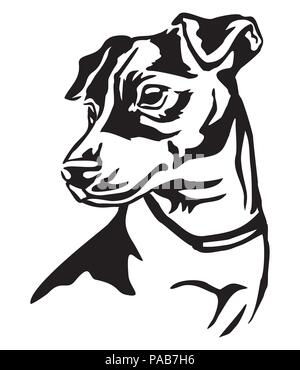 Decorative portrait of dog Jack Russell Terrier, vector isolated illustration in black color on white background - Stock Photo