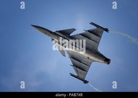 Swedish air force JASS 39 Gripen performing at RIAT 2018 - Stock Photo