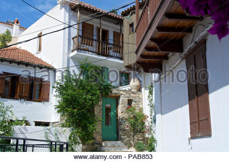 Skopelos Town Skopelos Sporades Islands Greece - Stock Photo