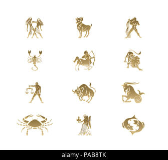 An illustration of the 12 star signs - Stock Photo