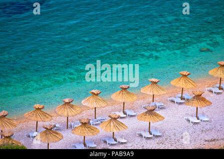 Island of Krk beach at Stara Baska aerial view, archipelago of Kvrner, Croatia - Stock Photo