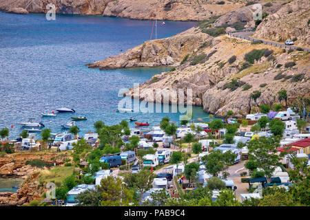 Camping by the sea on Stara Baska cliffs, Krk island tourist destination in Croatia - Stock Photo
