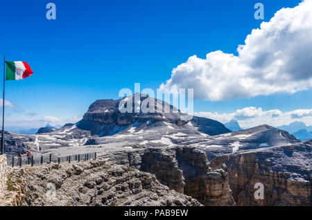 Piz Boe peak, 3152 m, in Sella massif, Dolomiti, Italy. View of rocky landscape from the hiking path. - Stock Photo