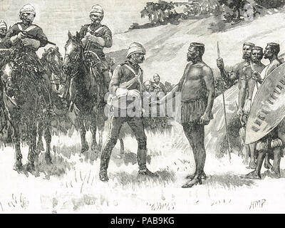 Surrender of Cetshwayo kaMpande, 29 August 1880, king of the Zulu Kingdom from 1873 to 1879, captured by soldiers under Wolseley's command at a kraal in the Ngome forest - Stock Photo