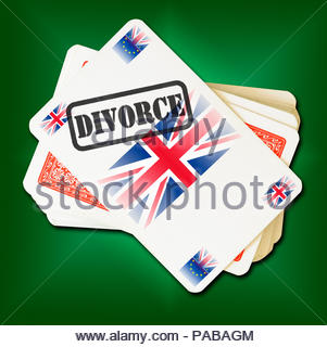 Brexit DIVORCE on playing card, Dorset, England, Britain, UK - Stock Photo