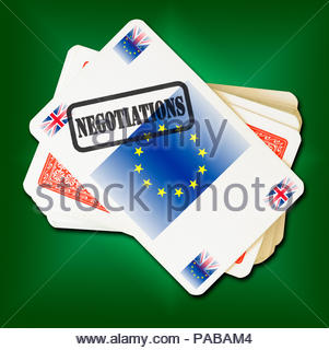 Brexit Negotiations on playing card, Dorset, England, Britain, UK - Stock Photo