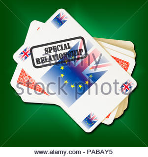 Brexit Special Relationship on playing card, Dorset, England, Britain, UK - Stock Photo