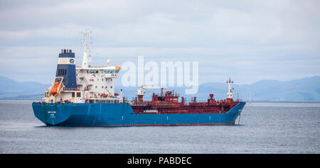 Danish oil and chemical tanker Bro Nibe (2007) operated by Brostrom AB, part of the Maersk Group, anchored off the Isle of Arran; Firth of Clyde. - Stock Photo
