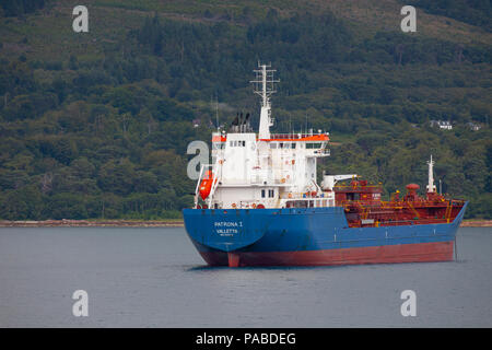 The Oil/Chemical tanker Patrona 1, owned by Harren & Partner, anchored off the Isle of Arran in the Firth of Clyde, Scotland, UK - Stock Photo
