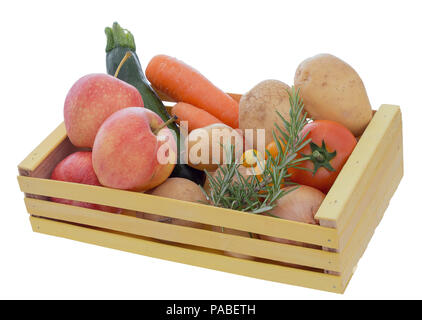 Assorted ordinary, common fruit and vegetables in wooden box isolated on white background. Home garden produce. - Stock Photo