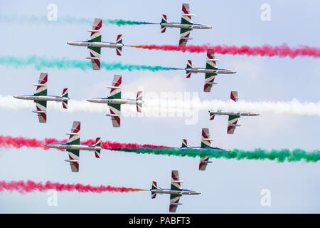 Italian Air Force Frecce Tricolori pictured at the 2018 Royal International Air Tattoo at RAF Fairford in Gloucestershire. - Stock Photo