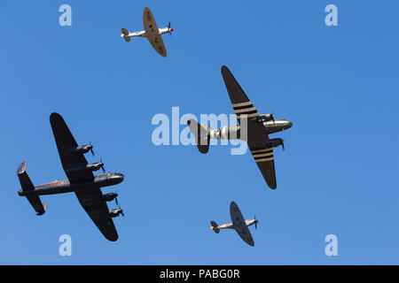 Battle of Britain Memorial Flight pictured during the RAF100 flypast at the 2018 Royal International Air Tattoo at RAF Fairford. - Stock Photo
