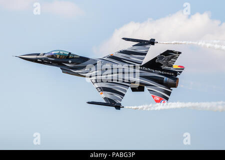 Belgian Air Component F-16AM aka Dark Falcon pictured at the 2018 Royal International Air Tattoo at RAF Fairford in Gloucestershire. - Stock Photo