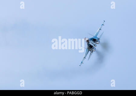 Ukrainian Air Force Su-27 Flanker pictured at the 2018 Royal International Air Tattoo at RAF Fairford in Gloucestershire. - Stock Photo