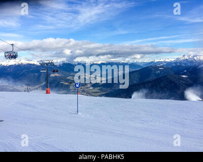 Ski slopes in the ski resort Plan de Corones. Alta Badia is the highest part of the Badia Valley in the Trentino Alto Adie region, northern Italy. - Stock Photo