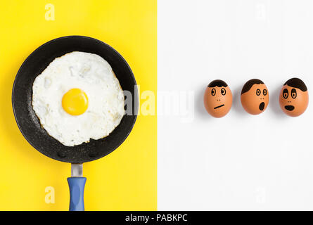 Fried egg in pan with faces drawn on uncooked eggs looking worried, Flat lay food image - Stock Photo
