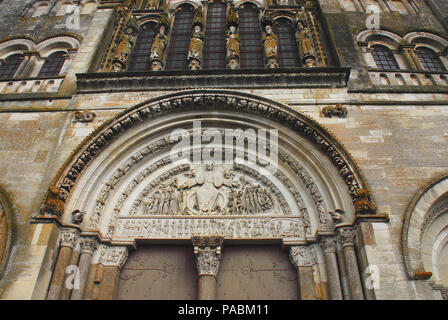 Vezelay-UNESCO- Portal of the Basilica Church of St. Mary Magdalene, which is the largest Romanesque church in France. - Stock Photo