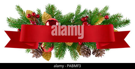 Christmas decoration element in red and gold theme for menu, invitation, poster - Stock Photo