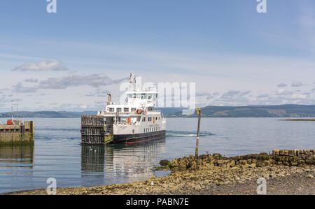 Largs, Scotland, UK - July 19, 2018: Largs in the West Coast of Scotland and car ferry Loch Shira, experiencing record numbers of visitors due to reco - Stock Photo