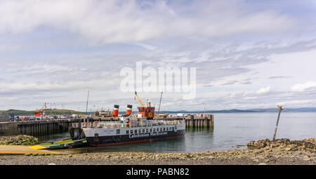 Largs, Scotland, UK - July 19, 2018: Largs in the West Coast of Scotland and car ferry Loch Linnhe, experiencing record numbers of visitors due to rec - Stock Photo