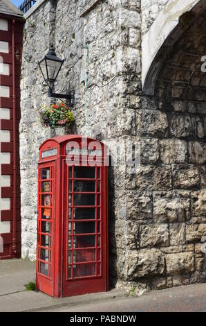 Classic British Telecom Red Telephone Box Carnlough County Antrim Northern Ireland - Stock Photo