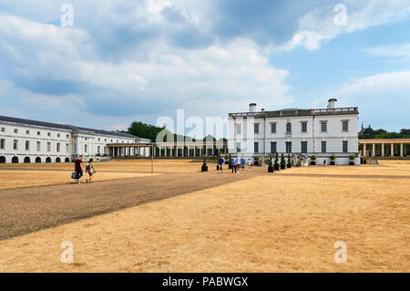 The 17th century Queens House in Greenwich Park, London UK, with parched grass from the 2018 heatwave - Stock Photo
