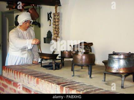 cooker in kitchen,  Uphagen's House, museum, Długa, Gdańsk, Pomerania, Poland - Stock Photo