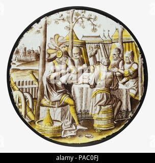 Roundel with Ben-Hadid and the Siege of Samaria. Culture: South Netherlandish. Dimensions: Overall Diam.: 8 1/2 in. (21.6 cm). Date: ca. 1525. Museum: Metropolitan Museum of Art, New York, USA. - Stock Photo