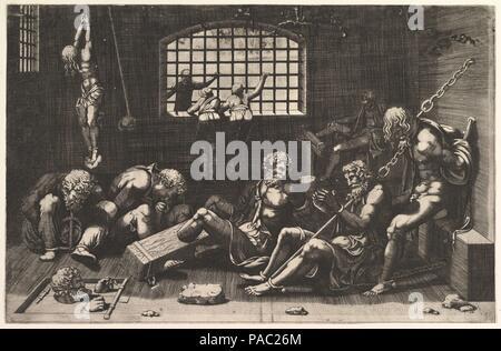 The Prison. Artist: Anonymous; After Giulio Romano (Italian, Rome 1499?-1546 Mantua). Dimensions: sheet: 10 11/16 x 16 3/8 in. (27.1 x 41.6 cm) borderline. Former Attribution: Formerly attributed to Giorgio Ghisi (Italian, Mantua ca. 1520-1582 Mantua). Date: n.d.. Museum: Metropolitan Museum of Art, New York, USA. - Stock Photo