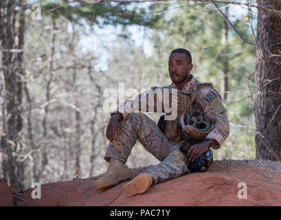 U.S. Air Force Staff Sgt. Paul Labbe, 1st Combat Camera aerial combat photojournalist, takes a break during shooting and moving drills, during exercise Scorpion Lens, March 9, 2016 at Fort Jackson, S.C. Combat Camera airmen and soldiers practiced maneuvering and firing first without ammo, then blanks, and a final run with live ammo hitting popup targets. (U.S. Air Force photo by Staff Sgt. Perry Aston) - Stock Photo