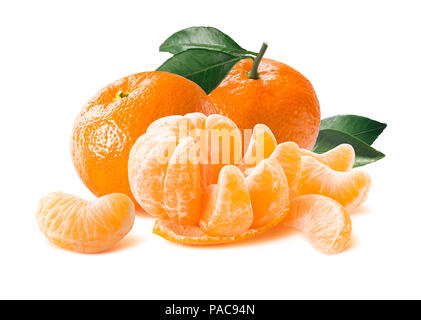 Big beautiful composition of whole and freshly peeled mandarin slices isolated on white background as package design element - Stock Photo