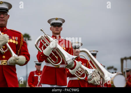 """""""The Commandant's Own."""" The United States Marine Drum & Bugle Corps perform the Battle Color Ceremony on the parade deck aboard Marine Corps Air Station Miramar, San Diego, CA., March 11, 2016. The official Battle Color Ceremony features """"The Commandant's Own."""" The United States Marine Drum & Bugle Corps.  The United States Marine Corps Silent Drill Platoon, and the Official Color Guard of the Marine Corps. The Battle Color Ceremony is a way for the Marine Corps to demonstrate discipline, professionalism, and """"Esprit de Corps"""" of the United States Marines. (U.S. Marine Corps photo by Lance Cpl - Stock Photo"""