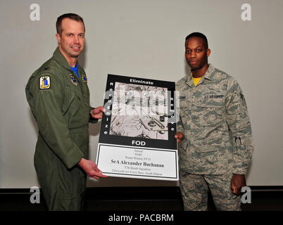 Col. Ty Neuman, 28th Bomb Wing vice commander, left, presents a coin and poster to Senior Airman Alexander Buchanan, 37th Bomb Squadron aviation resource management journeyman,  during an awards presentation at Ellsworth Air Force Base, S.D., March 4, 2016. Buchanan's poster design won the annual Foreign Object Detection poster contest for fiscal year 2015. The inspiration for the design was described as a perspective change to show how the smallest of foreign objects could cost the Air Force millions of dollars, so these objects were portrayed as big as they appear to ants. (U.S. Air Force ph - Stock Photo