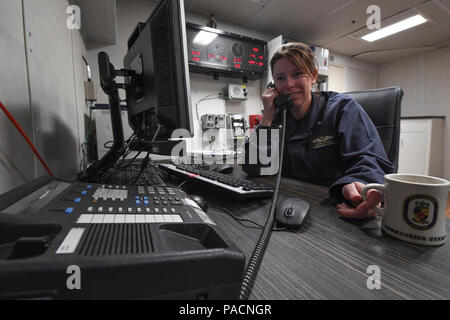 - MEDITERRANEAN SEA (April 9, 2017) Cmdr. Andria L. Slough, commanding officer of the guided-missile destroyer USS Porter (DDG 78), received a telephone call from President Donald J. Trump, April 9, 2017. Porter, forward-deployed to Rota, Spain, is conducting naval operations in the U.S. 6th Fleet area of operations in support of U.S. national security interests in Europe. - Stock Photo