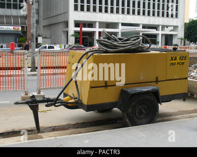 Compressor, Repair, Paulista Avenue, São Paulo, Brazil - Stock Photo