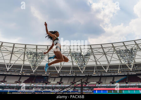 London, UK.. 21st July, 2018. Katarina Johnson-Thompson (GBR) in Women's Long Jump  during 2018 IAAF Diamond League - Muller Anniversary Games at London Stadium on Saturday, 21 July 2018. LONDON, ENGLAND. Credit: Taka G Wu Credit: Taka Wu/Alamy Live News - Stock Photo