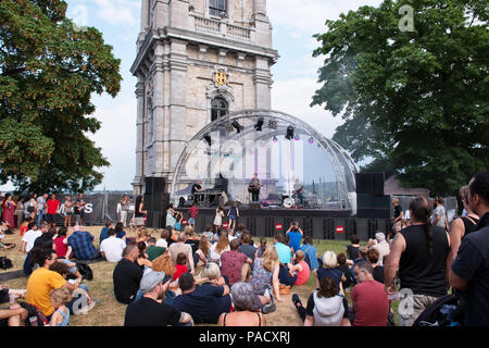 Mons, Belgium. 21 July, 2018. Open air concerts in frame of the Fest of the Belfry gathered many local people and tourists, celebrating National Day of Belgium Credit: Skyfish/Alamy Live News - Stock Photo