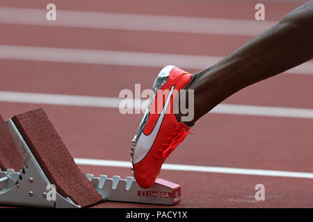 London, UK. 21st July 18. Nathon ALLEN (Jamaica) out of the starting blocks in the Men's 400m Final at the 2018, IAAF Diamond League, Anniversary Games, Queen Elizabeth Olympic Park, Stratford, London, UK. Credit: Simon Balson/Alamy Live News